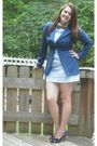 Blue-thrifted-blazer-blue-platos-closet-dress-ross-shoes-gold-georgia-tech