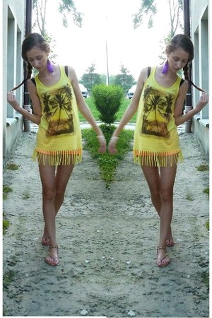 yellow Cubus top - orange Tally Weijl shorts - bronze Zara sandals