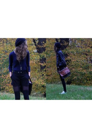 black H&M hat - navy H&M sweater - brown Primark bag - black Cubus shorts