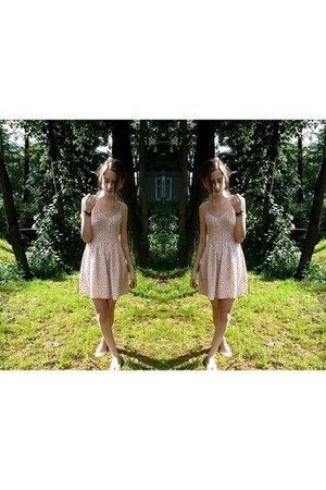 light pink H&M dress - black H&M bracelet - nude c&a flats