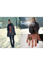 army green Orsay coat - carrot orange house sweater - dark brown Aldo ring