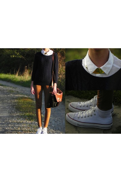 white Converse sneakers - navy H&M sweater - bronze Mohito leggings