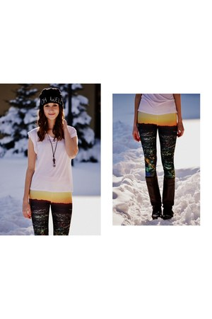 carrot orange romwe leggings - white H&M t-shirt