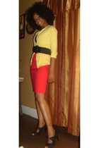 yellow cardigan - red shirt - black payless shoes