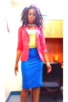 blue pencil skirt Forever 21 skirt - coral linen blend Charlotte Russe blazer