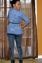 a8674ec8a74 motorcycle BCBG pants - tshirt shirt - burn out Ensemble cardigan. black polka  dots ...