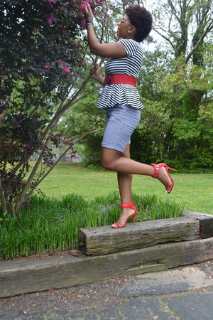 peplum Forever 21 blouse - red Zara shoes - gingham merona shorts