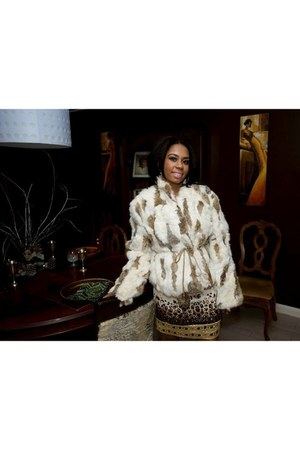 silk ECI dress - rabbit fur thrifted vintage jacket
