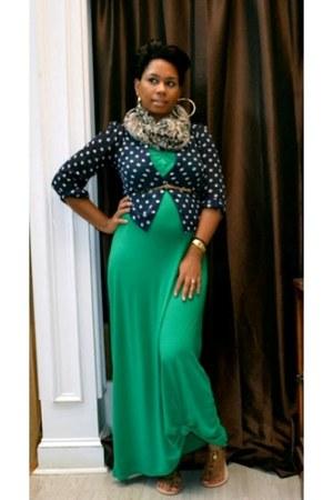 teal maxi dress Ross dress - navy polka dot Urban Outfitters blouse