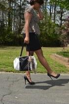 black pump Charles Jourdan shoes - white Betsey Johnson bag