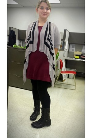 maroon Lauren Conrad dress - black Soda boots - silver cardigan