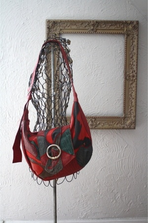 Red Oversize Patchwork Bag