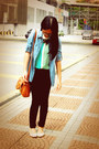 Light-blue-denim-mirrorcle-shirt-tawny-bag-mint-cream-vincci-flats