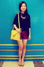 Mustard-envelope-bag-magenta-cotton-on-shorts-mustard-vincci-wedges