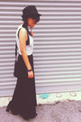 black H&M boots - black jersey maxi Secondhand dress