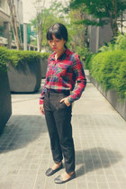 black slack H&M pants - ruby red plaid H&M shirt - off white tote Typo bag