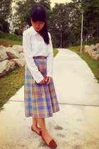 white H&M shirt - light purple cotton plaid vintage biri-biri skirt