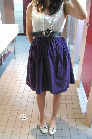 white cotton on top - gray warehouse belt - purple Glassons skirt - white I love