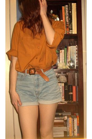 orange thrifted blouse - blue thrifted shorts - brown thrifted belt