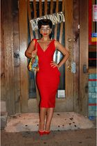 red Stop Staring dress - red Dolce and Gabanna shoes - gianni versace purse - ga