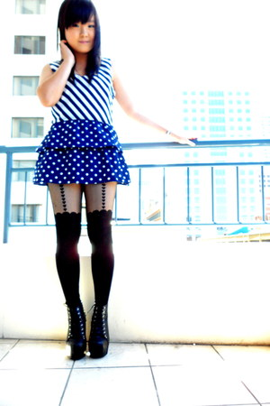 black studded Jeffrey Campbell boots - blue Hot Options dress