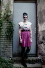 White-ebay-shirt-pink-second-hand-skirt-black-flea-market-belt-black-h-m-t