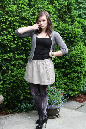 gold shiny Old Navy skirt - dark gray sparkly Old Navy cardigan - black glitter
