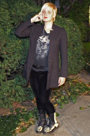 black skeleton doc martens boots - black suit H&amp;M jacket