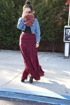 free people skirt - NyLa shoes - guess vintage jacket - Gap scarf