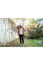 Forever 21 jacket - bearpaw boots - pink pom beanie Forever 21 hat