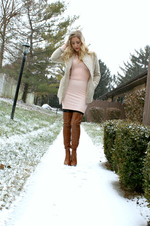 over the knee AmiClubWear boots - pink body con AmiClubWear dress