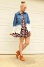 Floral-print-dress-ombre-denim-shirt