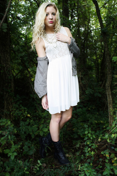 black lace-up boots - white chiffon dress