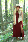 Burgundy-maxi-forever-21-dress-lace-up-bearpaw-wedges