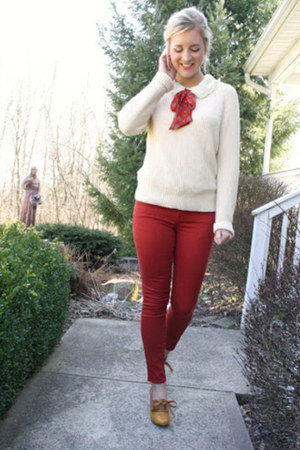 Forever 21 sweater - red denim Forever 21 pants - blouse - modcloth pumps