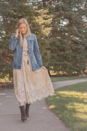 apricot lace Metisu dress - lulus boots - denim Elder-Beerman jacket