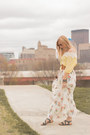 Zaful-top-green-strappy-bearpaw-sandals-floral-maxi-forever-21-skirt