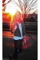 distressed Forever 21 jeans - orange scarf