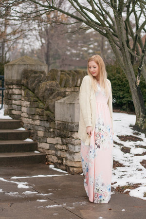 floral maxi Games dress - cream knit Tobi cardigan