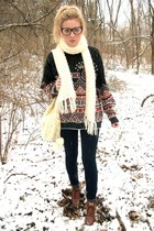 boots - vintage sweater - cream knit scarf - black Forever 21 glasses - denim pa