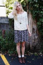 cream knit sweater - lace-up boots