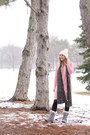 Lace-up-snow-bearpaw-boots-pink-sweater-rosegal-dress