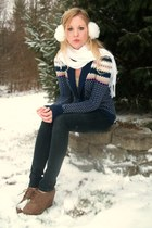 Forever 21 jeans - white ear muffs hat - sweater - white scarf