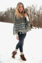 brown lace-up boots - jeggings jeans - ivory knit socks - cape