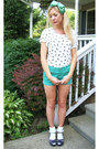 Mint-green-shorts-white-ruffle-socks-black-stappy-wedges-accessories-bir