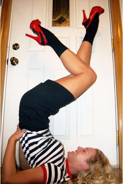 striped vintage shirt - red stilettos shoes - navy socks - navy vintage skirt