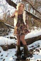 Forever 21 dress - Forever 21 vest - tights - Forever 21 boots