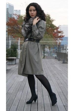 heather gray Burberry coat - heather gray fox fur scarf