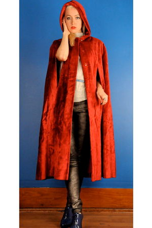 red coat - silver Helmut Lang pants - blue Repetto shoes