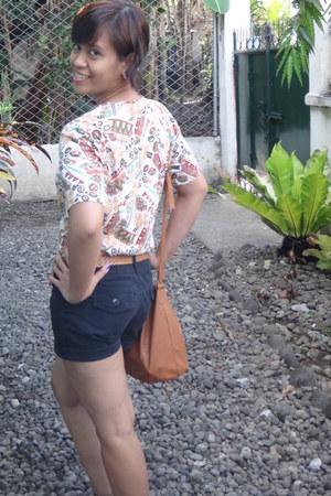 thrifted top - carrot orange bag - dark gray high waisted shorts